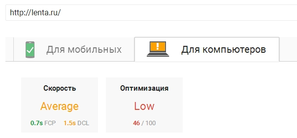 Показатели Google Page Speed Insights для lenta.ru