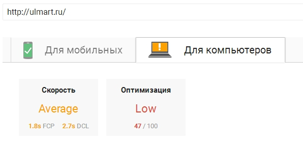 Показатели Google Page Speed Insights для ulmart.ru