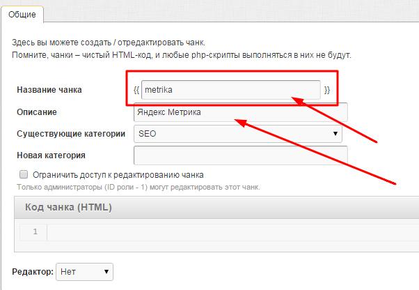 Создаем чанк Яндекс Метрики