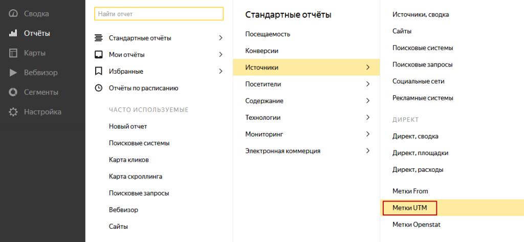 Где находятся UTM метки в Яндекс Метрике