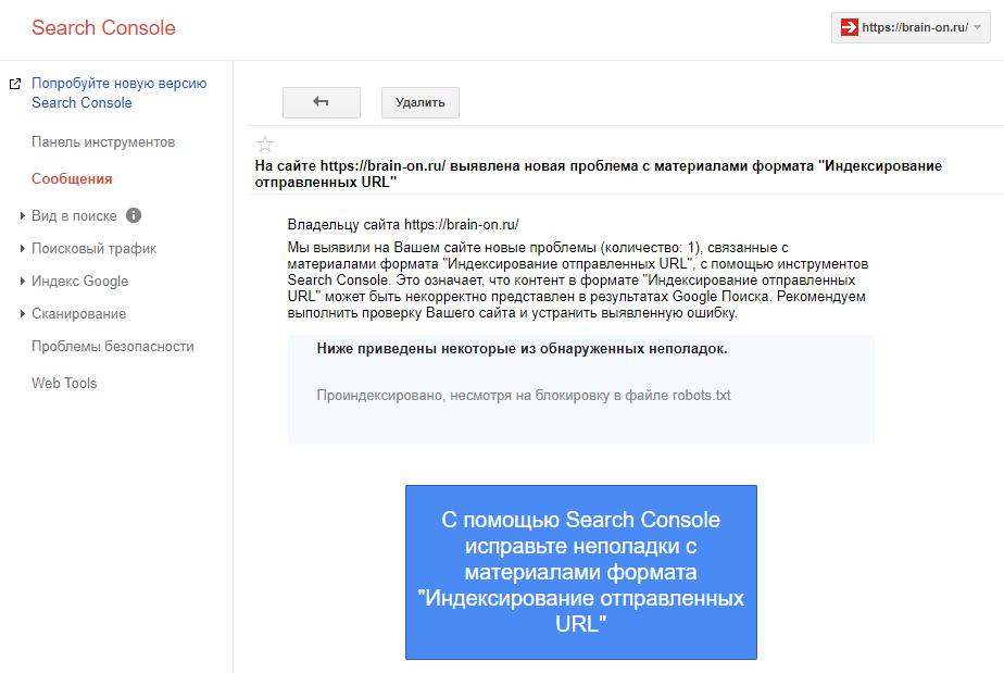 Проверка - индексирование отправленных URL