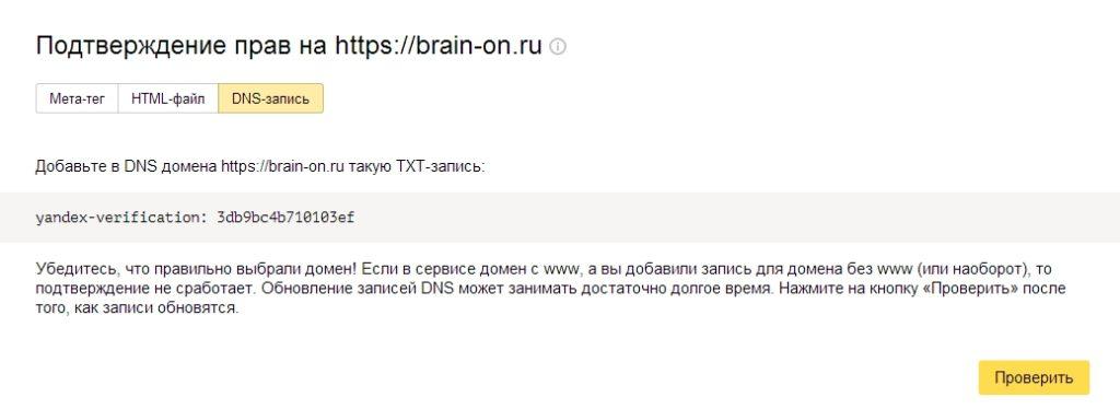 Подтверждение прав на сайт с помощью DNS записи домена