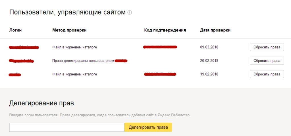 Список пользователей, подтвердивших права на сайт